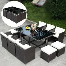 Outdoor Patio Wicker Furniture by 11 Pc Rattan Wicker Furniture Garden Outdoor Patio Dining Set