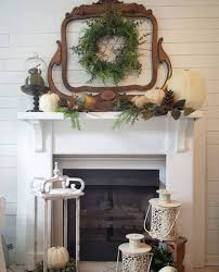 tanksgiving fireplace decor shabby chic farmhouse fall decorating