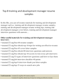 Sample Training Resume by Training And Development Resume Resume For Your Job Application