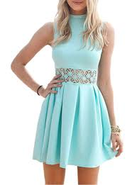 light blue pleated skirt blue fit and flare dress lace middle pleated skirt high neck