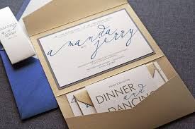 gold wedding invitations blue and gold wedding invitation with pocket sang maestro