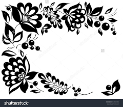 black and white flowers leaves floral design element in retro