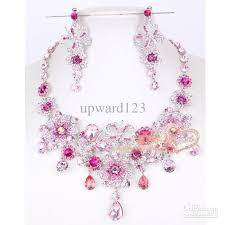 pink jewelry necklace images Pink diamond bridal necklace earring set 977 party jewelrys bridal jpg