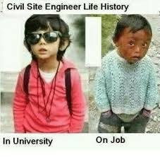 Memes Site - civil site engineer life history on job in university meme on me me