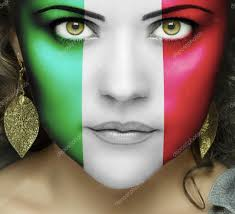 Flag Face Italian Flag On Face Of Woman With Green Eyes U2014 Stock Photo