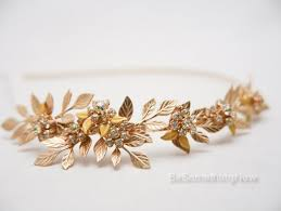 metal headband gold metal headband of brass leaves and vintage rhinestone jewelry