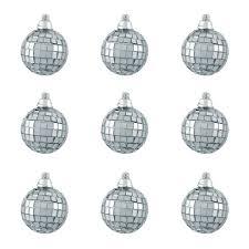9ct silver splendor mirrored glass disco ornaments
