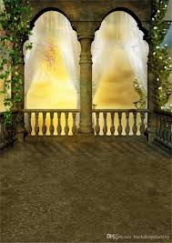 retro castle arch pillar fantasy photo backdrop white curtain