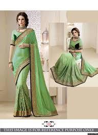 elegant pista green coloured two tone silk saree