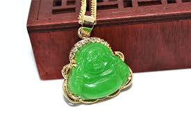 jade gold necklace images Natural gold inlaid green jade buddha pendant sweater chain jpg