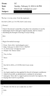 Job Resume Email by Emails From Steve Jobs Business Insider