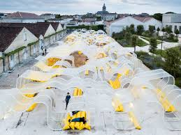 selgascano creates a vast paper forest within the courtyard of