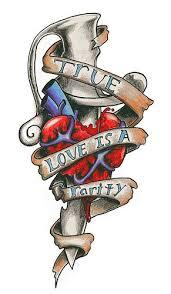 true love banner heart with dagger tattoo design photo 1 2017