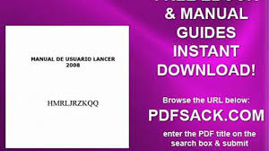 manual de usuario lancer 2008 video dailymotion