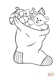 stocking filled toys coloring free printable