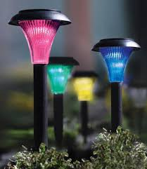 solar powered color changing pathway lights set of 4 from