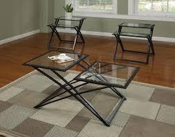 black metal base brown wood top modern 3pc coffee table set frame