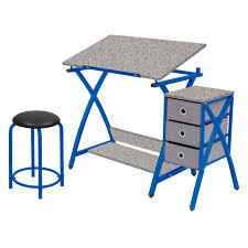 blue writing desk studio designs folding craft station silver blue glass top