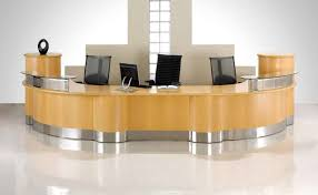 Rounded Reception Desk by Corner Reception Desk Glass Laminate Wooden Modern Modern Office