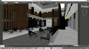 lobby hall foyer office commercial business scene interior render