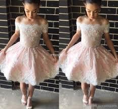 blush pink short semi cocktail dresses off shoulder short sleeve
