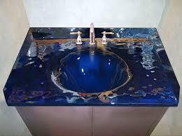 Custom Bathroom Vanity Tops Glass Bath Vanity Top With Integrated Sink Sinks Gallery