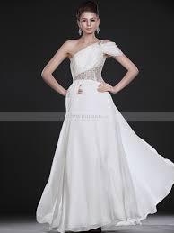 wedding dresses goddess style goddess style one shoulder satin chiffon wedding dress features