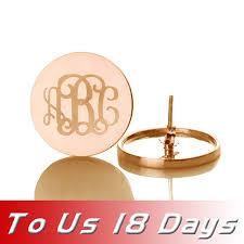 Gold Monogram Earrings Online Shop Freeshipping Personalized Monogram Earrings Rose