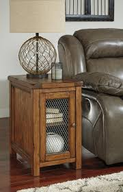 Ashley Furniture Bedroom End Tables Rustic Chair Side End Table With Wire Mesh Door By Signature