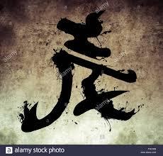 spirit design japanese kanji in sepia on vintage paper