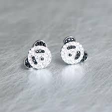 white gold studs swarovski white gold panda studs earrings kellinsilver