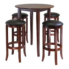 wooden high bar table review winsome fiona 5 piece round high pub table set in antique