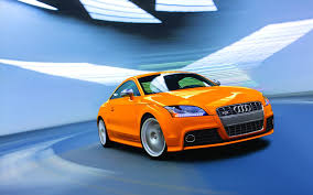 audi orange color orange color audi car on road image