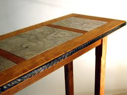 Marble Table Top Entry Table Of Cherry Wood Marble And Forged Steel