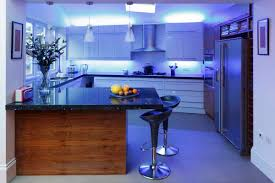 u shape kitchen decoration using blue led light under kitchen