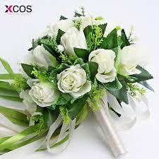 silk wedding bouquets ramos de novia 2017 white bridal bouquet wedding flowers
