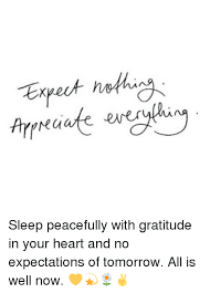 Gratitude Meme - mu sleep peacefully with gratitude in your heart and no expectations