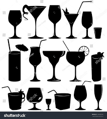 glass collection vector silhouette cocktail party stock vector