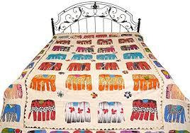 applique in cotto india bedcover from jodhpur with applique elephants and