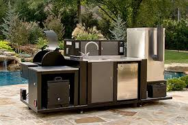 high end furniture for outdoor kitchen in black and stainless