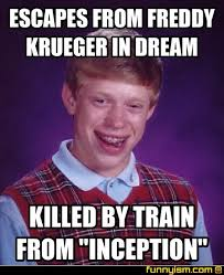 Freddy Krueger Meme - escapes from freddy krueger in dream killed by train from inception