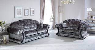 Versace Sofa Versace Sofa 3 2 Silver Crushed Velvet With Swarovski Crystals
