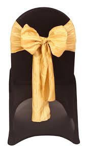 gold chair sashes gold crinkle taffeta chair sashes for weddings