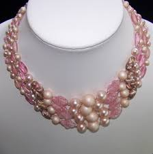 pink beads necklace images Vintage pink art glass bead necklace 4 strand japan sold ruby lane jpg