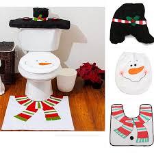 Snowman Rug New Xmas Snowman Toilet Seat Cover Rug Bathroom Mat Set