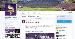 Sam Bradford Memes - vikings announce bradford trade on twitter poor fans hilariously