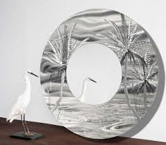mirror 106 modern tropical metal wall mirror silver abstract