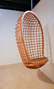 rattan hanging egg chair mid century at 1stdibs