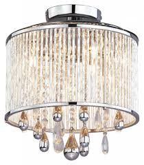Crystal Flush Mount Lighting Five Light Chrome Clear Crystals Glass Drum Shade Semi Flush Mount