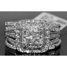 rings wedding set images 1 56ct wedding set bridal engagement ring 2 bands 14k white gold jpg